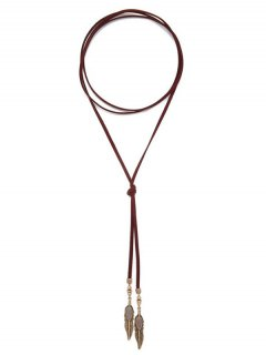 Leaf Beads Sweater Chain - Deep Red