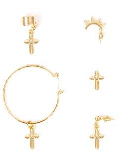 A Suit Of Cross Earrings - Golden