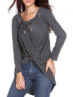 Solide Couleur Manches Longues Lace Up T-Shirt - Gris
