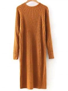 Solid Color Round Neck Sweater Dress - Orange M