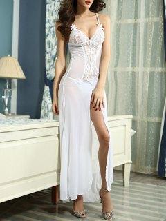 Lace Splice Cami High Slit Maxi Dress - White Xl