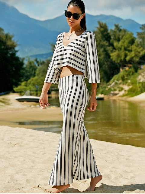 lady Striped V-Neck T-Shirt and High Slit Skirt Twinset - WHITE 2XL Mobile