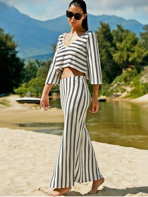 hot Striped V-Neck T-Shirt and High Slit Skirt Twinset - WHITE S Mobile