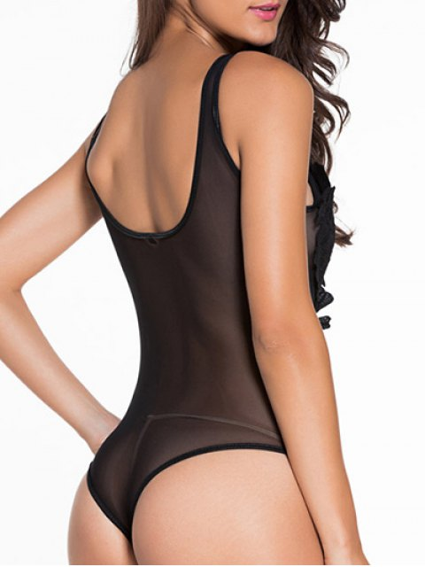 outfit Patch Design U Neck See-Through Sleepwear - BLACK XL Mobile