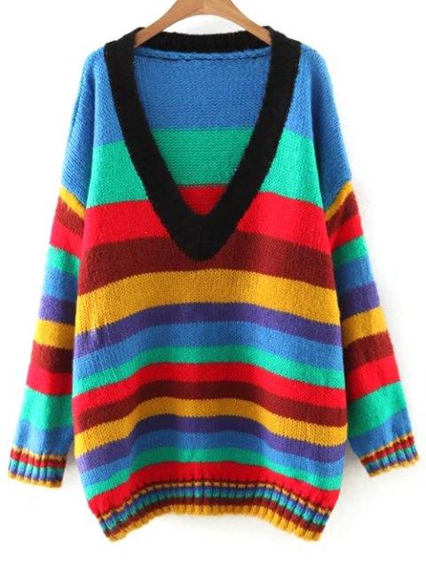 hot Striped V Neck Color Block Sweater - COLORMIX M Mobile