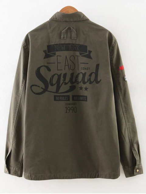 outfits Letter Print Epaulet Shirt Neck Pockets Jacket - ARMY GREEN S Mobile