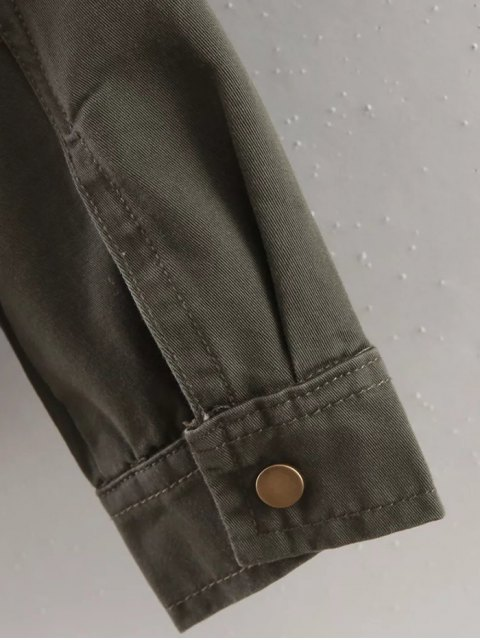 hot Letter Print Epaulet Shirt Neck Pockets Jacket - ARMY GREEN L Mobile