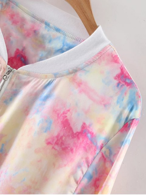 shops Stand Neck Long Sleeve Tie-Dyed Jacket - COLORMIX M Mobile