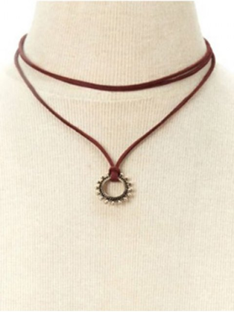 shops Sun Layered Necklace - DEEP RED  Mobile
