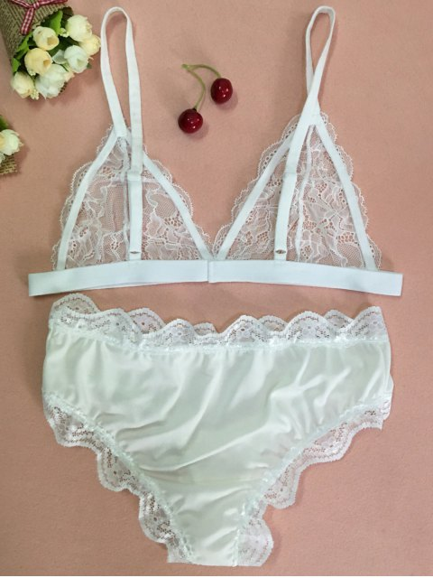 outfit Lace Cami Bra and Briefs Lingeries Suit - WHITE XL Mobile
