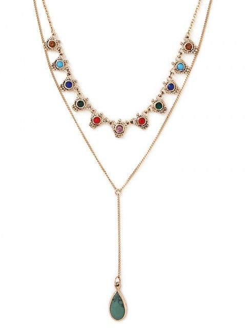 affordable Fake Gem Layered Necklace - GOLDEN  Mobile