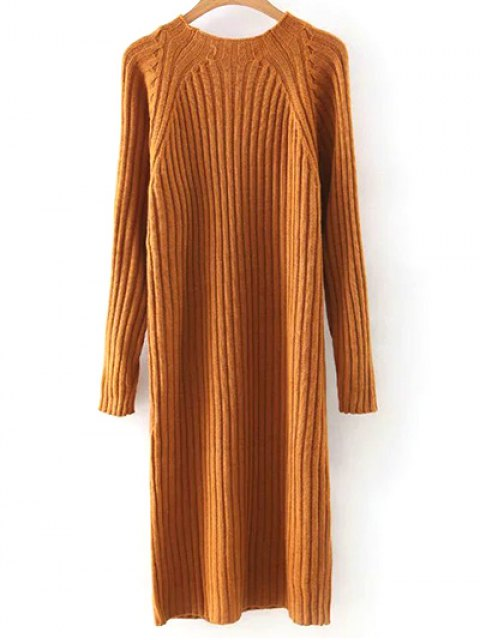 new Solid Color Round Neck Sweater Dress - ORANGE M Mobile