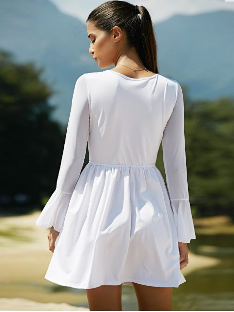 affordable Mesh Spliced Scoop Neck Flare Sleeve Dress - WHITE M Mobile