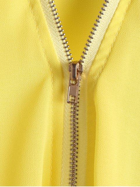 Solide Couleur Plongeant Neck Zipper Blouse - Jaune M Mobile