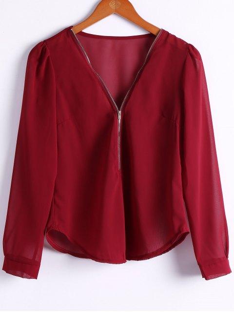 Solide Couleur Plongeant Neck Zipper Blouse - Rouge vineux  S Mobile