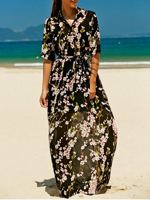 hot Floral Buttoned Maxi Holiday Shirt Dress - BLACK L Mobile