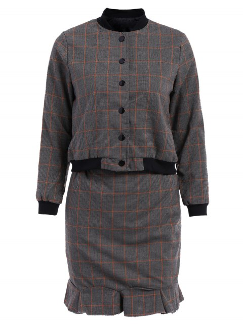 unique Stand-Up Collar Plaid Long Sleeve Coat + Skirt - GRAY M Mobile