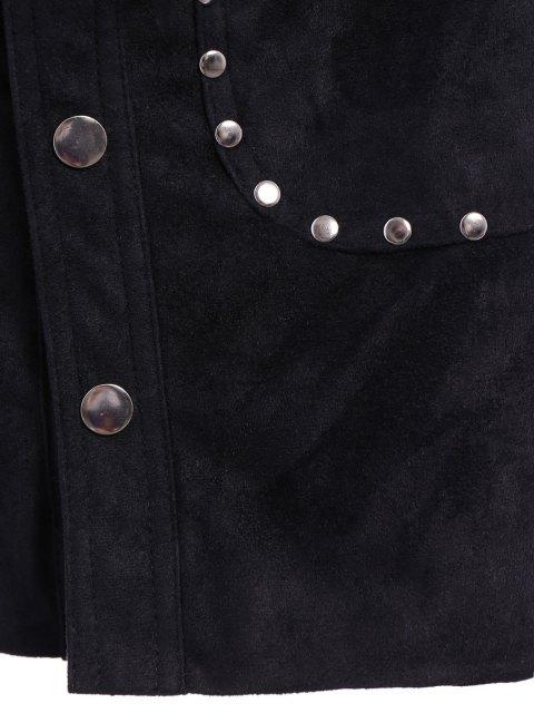 ladies Rivet Packet Buttocks Suede Skirt - BLACK L Mobile