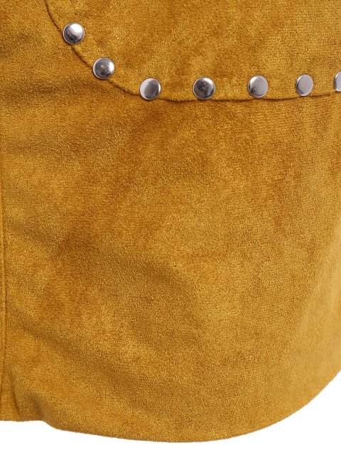 sale Rivet Packet Buttocks Suede Skirt - YELLOW M Mobile
