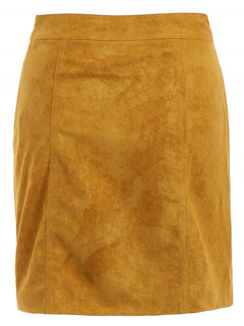 unique Rivet Packet Buttocks Suede Skirt - YELLOW S Mobile