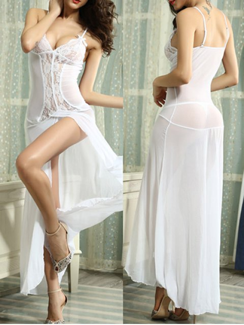 hot Lace Splice Cami High Slit Maxi Dress - WHITE XL Mobile