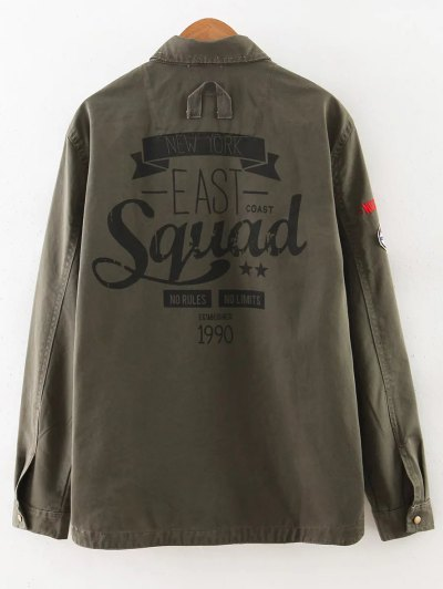 Letter Print Epaulet Shirt Neck Pockets Jacket - ARMY GREEN L Mobile