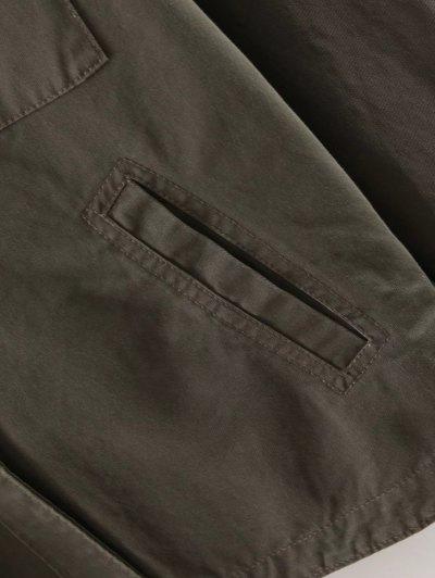 Letter Print Epaulet Shirt Neck Pockets Jacket - ARMY GREEN M Mobile