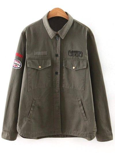 Letter Print Epaulet Shirt Neck Pockets Jacket - ARMY GREEN S Mobile