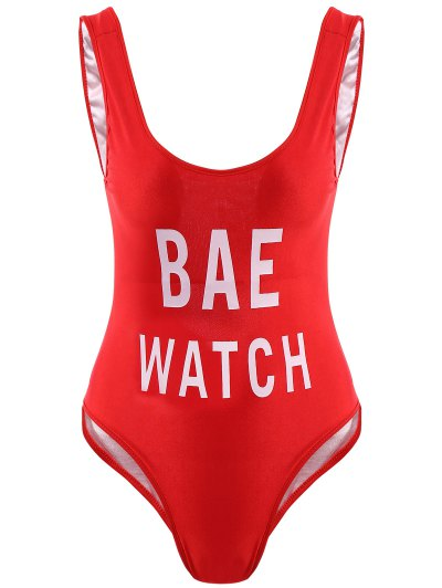 Letter Print One-Piece Swimwear - Red M