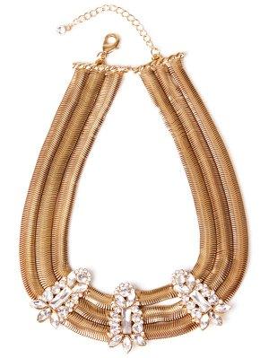 Alloy Rhinestone Necklace - Golden