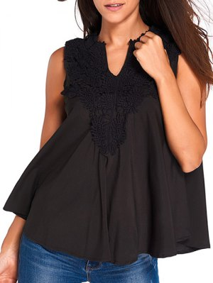 Lace V Neck Sleeveless High Low Blouse - Black
