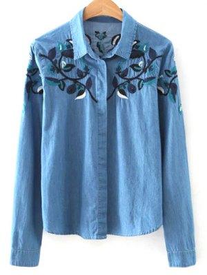 Shirt Neck Floral Embroidery Denim Shirt - Blue