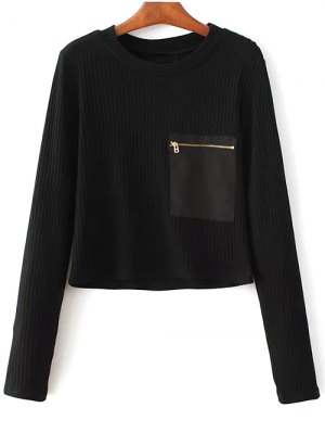 Solid Color Round Neck Pocket Patchwork Sweater - Black