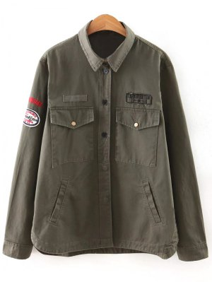 Letter Print Epaulet Shirt Neck Pockets Jacket - Army Green