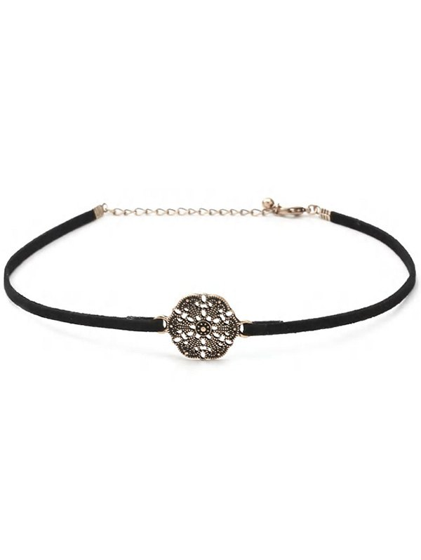 Engraved Flower Choker