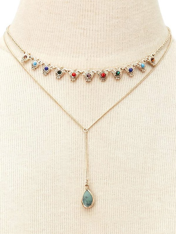 Fake Gem Layered NecklaceAccessories<br><br><br>Color: GOLDEN