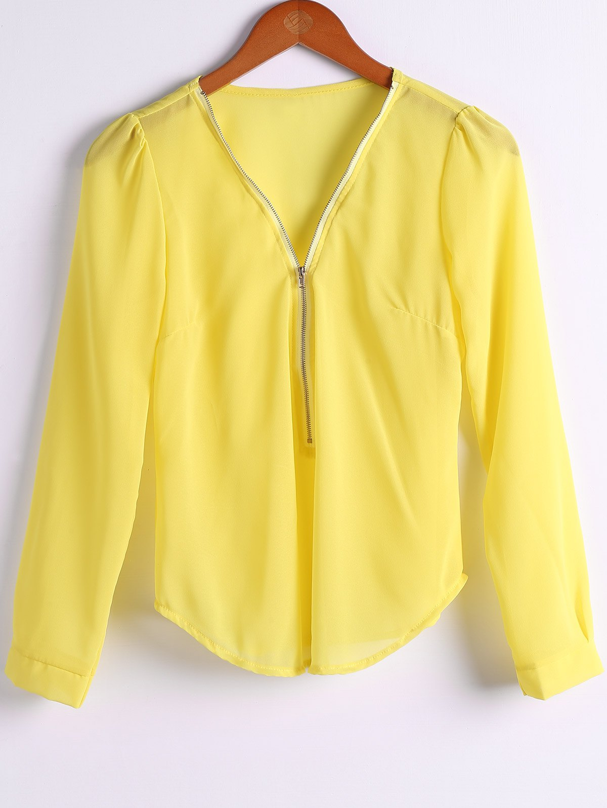 Plunging Neck Long Sleeve Solid Color Zipper Blouse