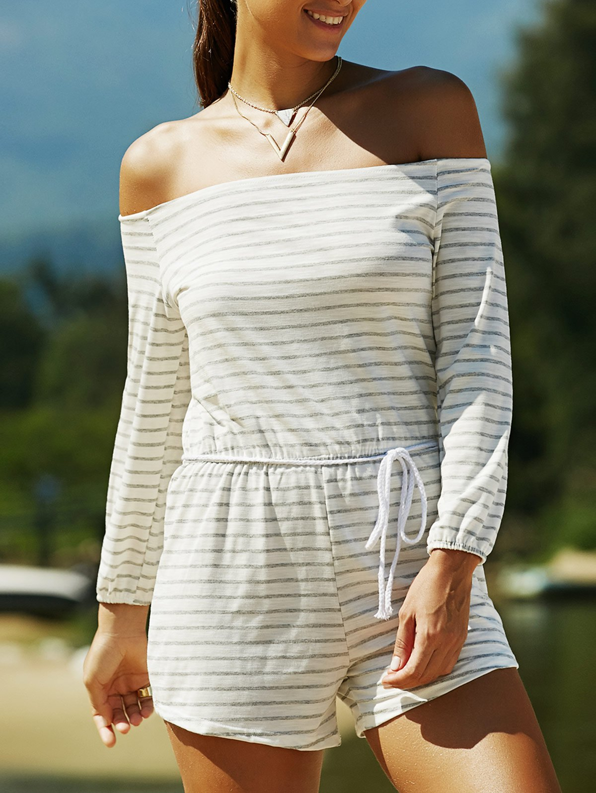 Off The Shoulder Long Sleeve Striped Drawstring Playsuit