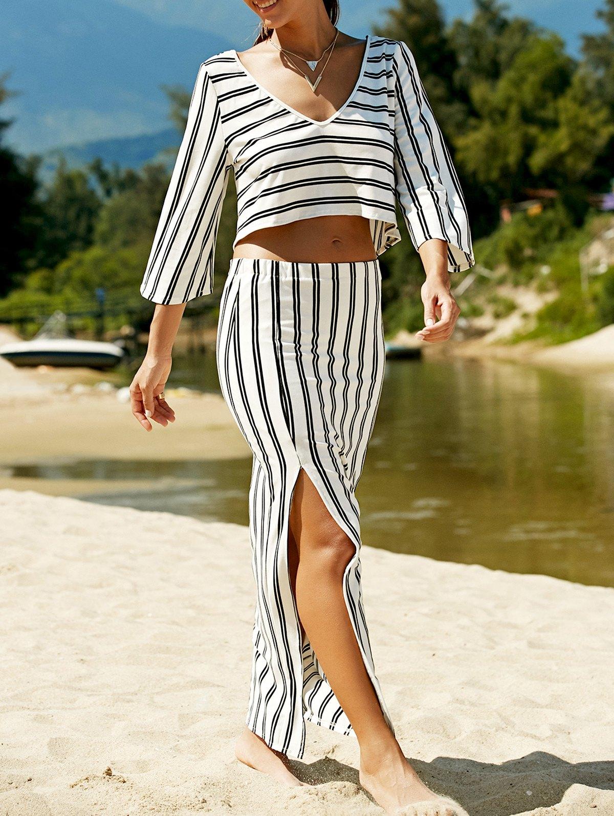V-Neck Striped T-Shirt and High Slit Skirt Twinset