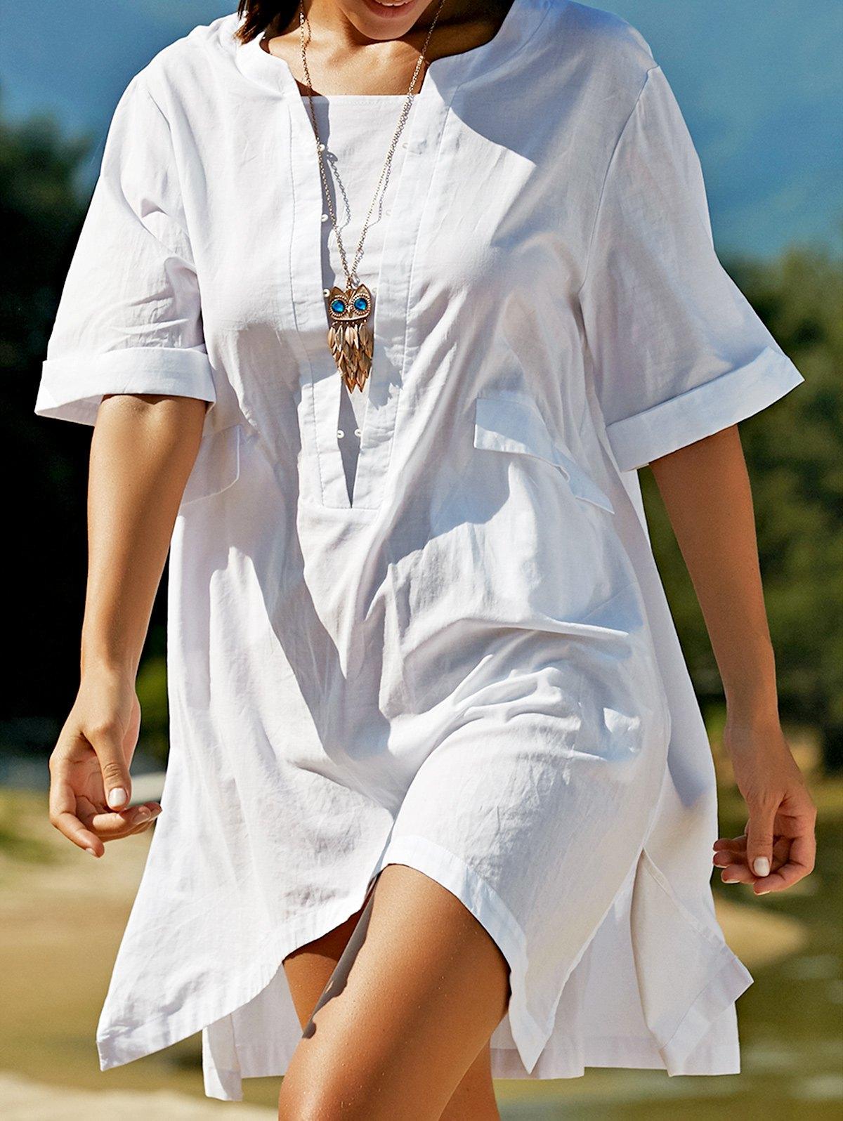 Round Neck Half Sleeve Plus Size Side Slit T-Shirt Dress