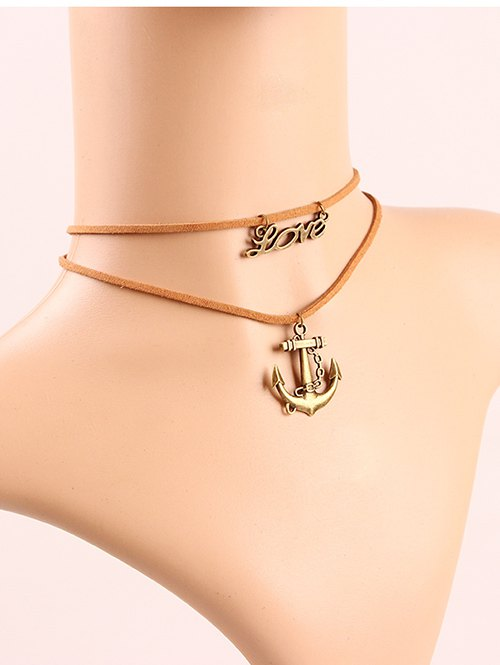 Anchor Letters Layered Choker
