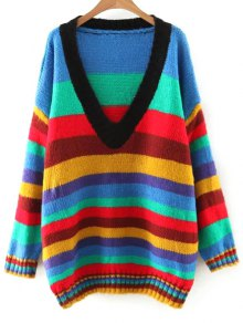 Striped V Neck Color Block Sweater - M