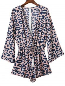 Leopard Print Plunging Neck Long Sleeve Romper