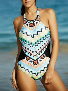 High Neck Geometric Pattern One Piece Tummy Control Swimsuit