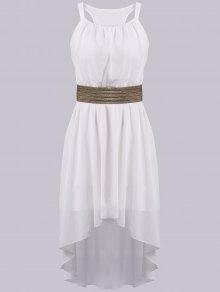 Spaghetti Strap High Low Sleeveless Dress - White