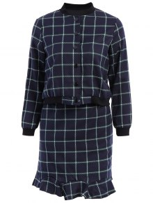 Stand-Up Collar Plaid Long Sleeve Coat + Skirt - Cadetblue M