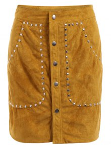 Rivet Packet Buttocks Suede Skirt