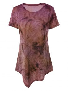 Tie Dye Hankerchief Hem T-Shirt - Yellow + Purple S