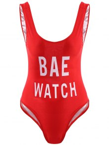 Letter Print One-Piece Swimwear - Red