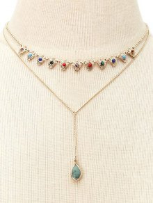 Fake Gem Layered Necklace